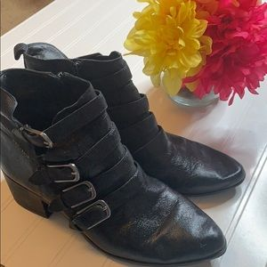 Lucky Brand Black Leather Ankle Boots Sz 9.5